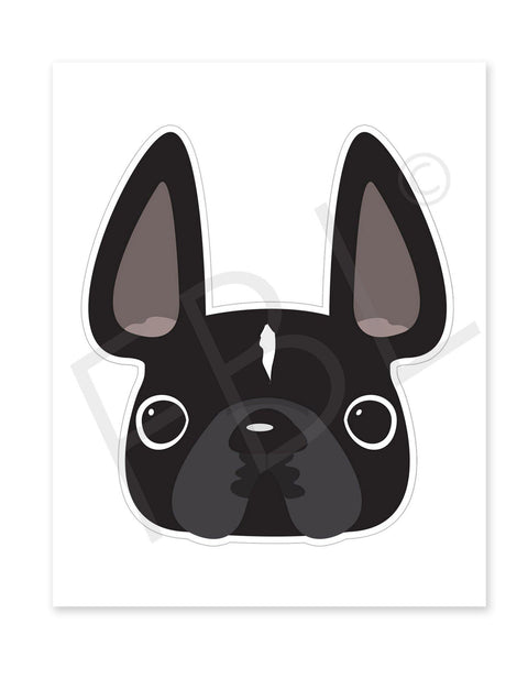Black w White Stripe / Large French Bulldog Sticker - French Bulldog Love