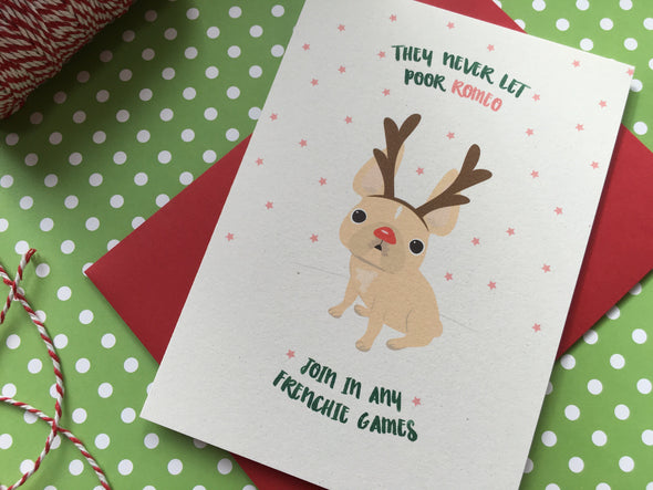 CUSTOMIZABLE Frenchie Rudolph French Bulldog Holiday Card - French Bulldog Love - 2