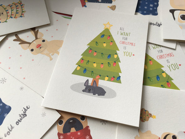 Mix & Match Any 12 HOLIDAY CARDS / BEST DEAL - French Bulldog Love - 5