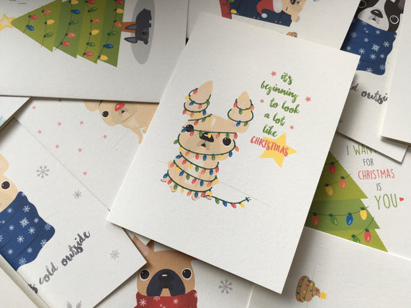 Mix & Match Any 12 HOLIDAY CARDS / BEST DEAL - French Bulldog Love - 6