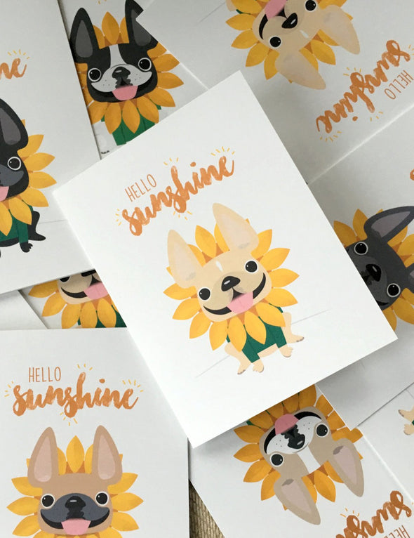 Hello Sunshine A2 French Bulldog Note Cards - Box Set of 5, 12, or 25 - French Bulldog Love - 19