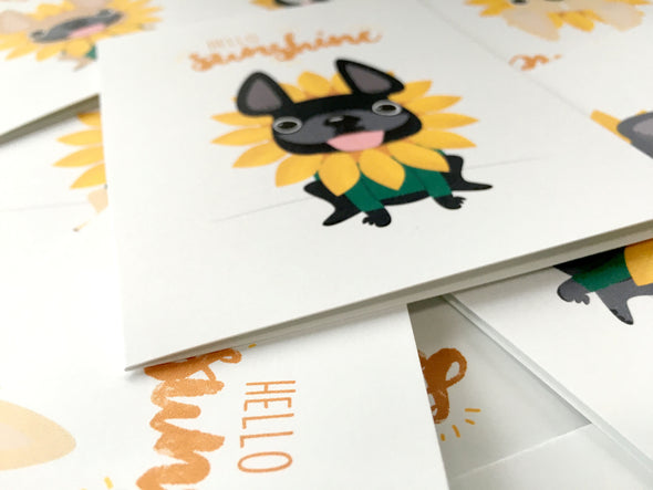Hello Sunshine A2 French Bulldog Note Cards - Box Set of 5, 12, or 25 - French Bulldog Love - 20