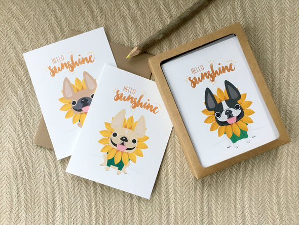 Hello Sunshine A2 French Bulldog Note Cards - Box Set of 5, 12, or 25 - French Bulldog Love - 21