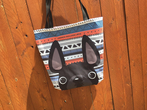 Black / Geometric French Bulldog Tote Bag - French Bulldog Love - 2