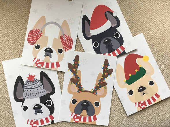 Mix & Match Any 12 HOLIDAY CARDS / BEST DEAL - French Bulldog Love - 7