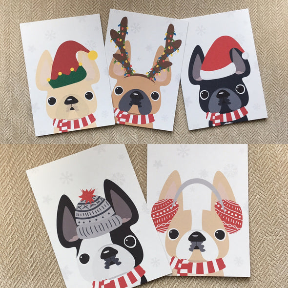 Festive Frenchies 15 Card Holiday Box Set - French Bulldog Love - 18