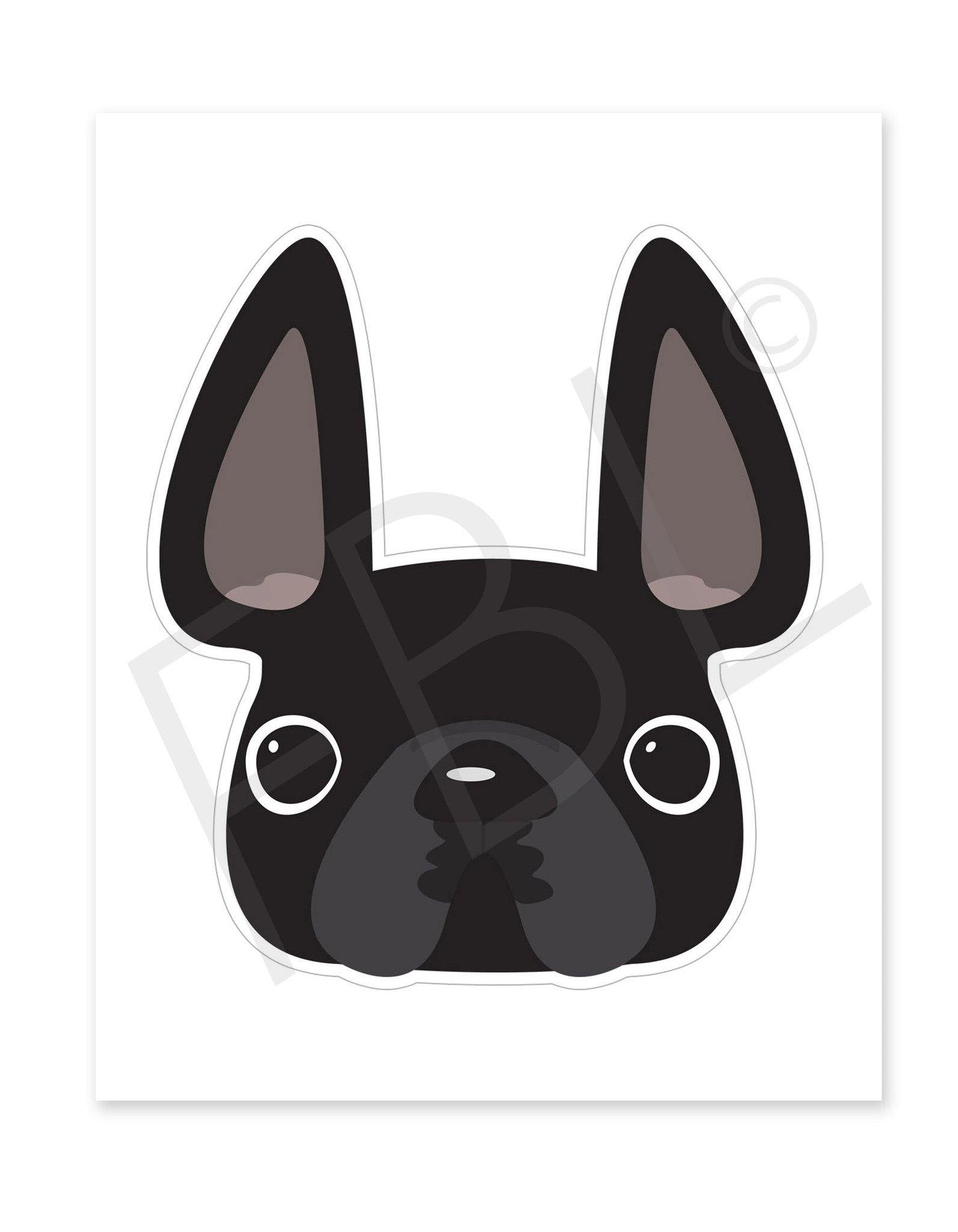 Black / Large French Bulldog Sticker