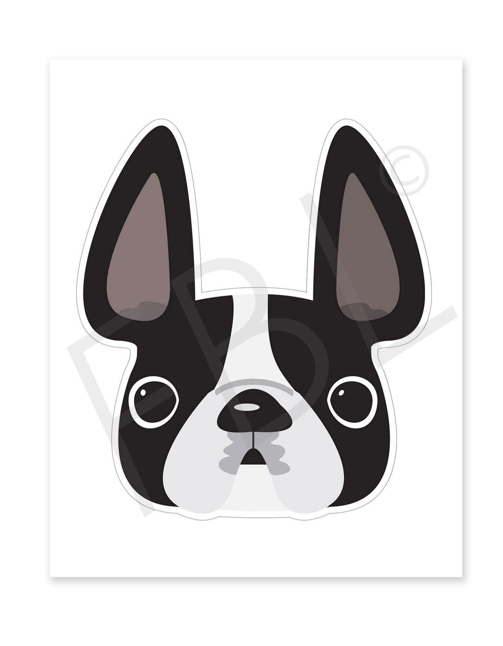 Black & White Pied / Large French Bulldog Sticker - French Bulldog Love