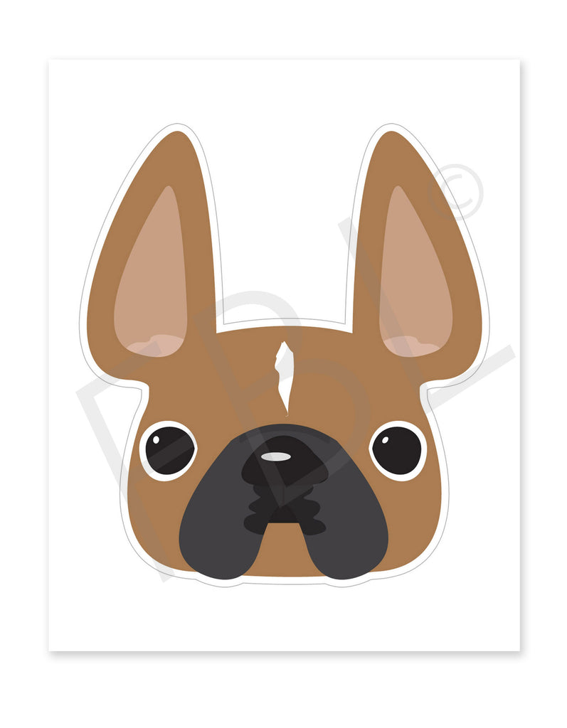 Fawn w White Stripe / Large French Bulldog Sticker - French Bulldog Love