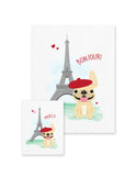 Bonjour/Merci 12 Card French Bulldog Eiffel Tower Set - French Bulldog Love - 5