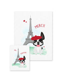 Bonjour/Merci 12 Card French Bulldog Eiffel Tower Set - French Bulldog Love - 6