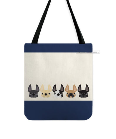 Five Little Frenchies French Bulldog Tote Bag