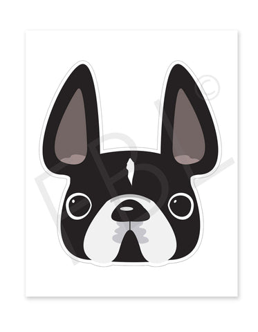 Black w White Mask / Large French Bulldog Sticker - French Bulldog Love