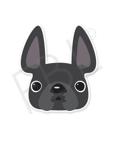 Grey / French Bulldog Mini Sticker - French Bulldog Love - 1