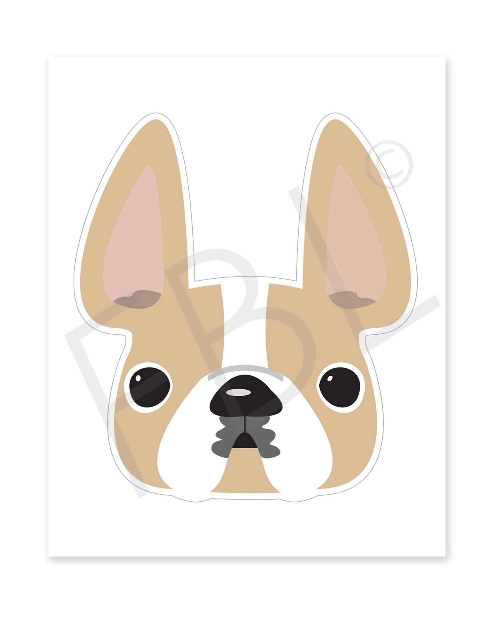 Honey Pied / Large French Bulldog Sticker