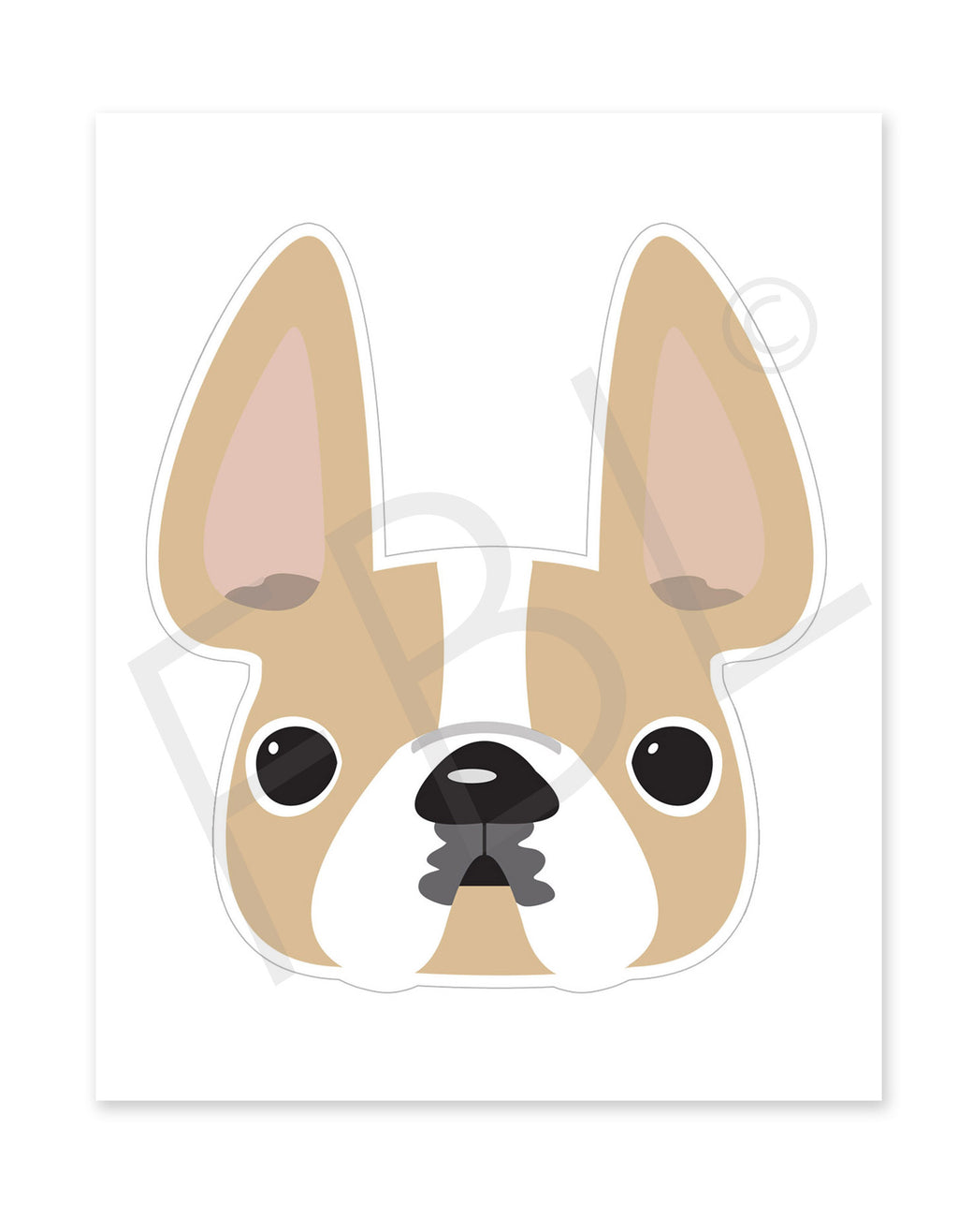 Honey Pied / Large French Bulldog Sticker - French Bulldog Love - 1