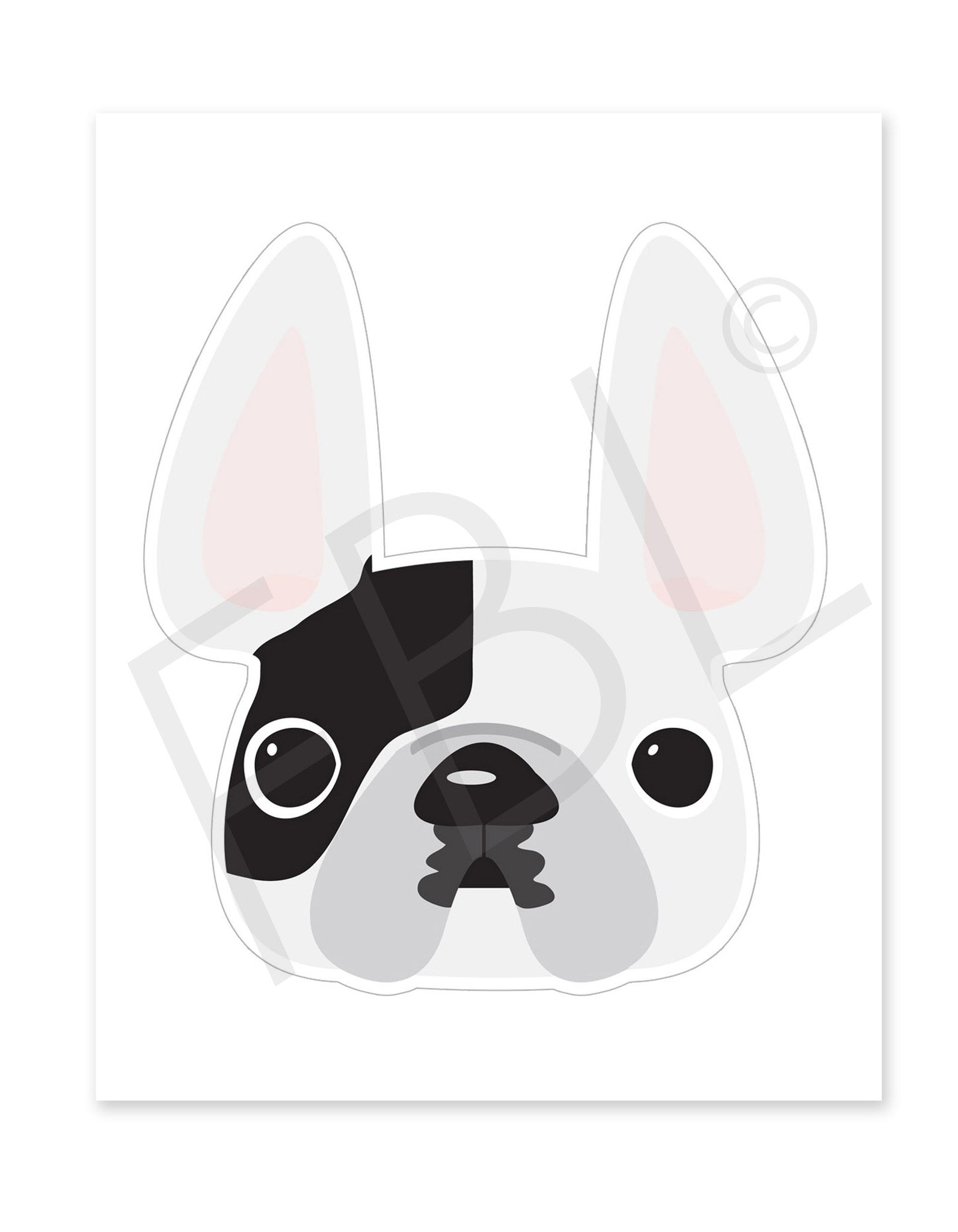 White Pied / Large French Bulldog Sticker