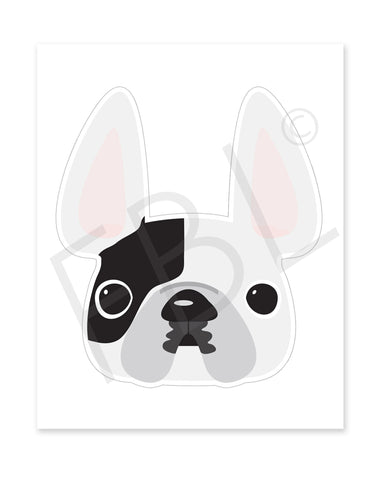 White Pied / Large French Bulldog Sticker - French Bulldog Love