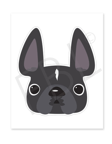 Grey w/ White Stripe / Large French Bulldog Sticker - French Bulldog Love