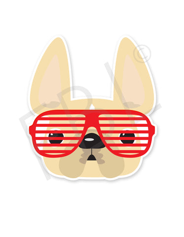 Cream w Red Shades / French Bulldog Mini Sticker - French Bulldog Love - 1