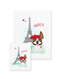 Bonjour/Merci 12 Card French Bulldog Eiffel Tower Set - French Bulldog Love - 10