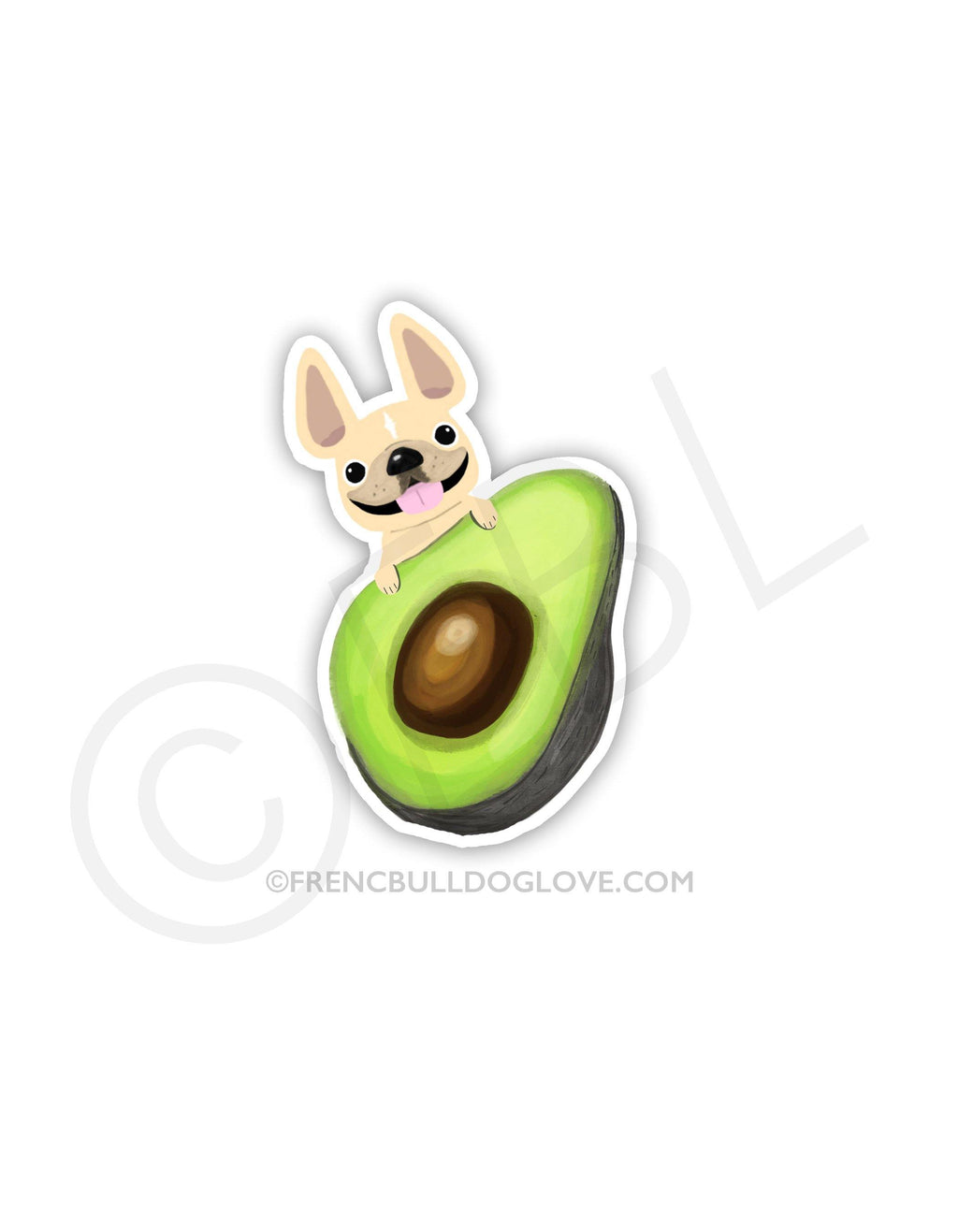 #100DAYPROJECT - AVOCADO LOVE VINYL FRENCH BULLDOG STICKER