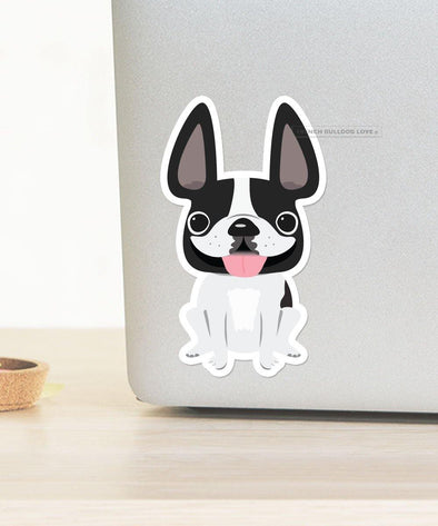 LARGE FRENCHIE STICKER - BLACK/WHITE PIED - WATERPROOF VINYL