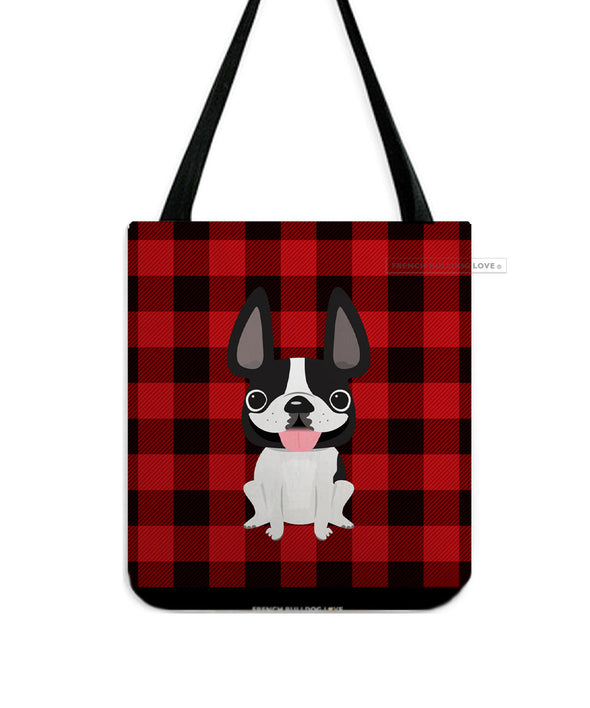 Plaid Tote Bag - Black and White Pied French Bulldog Tote Bag