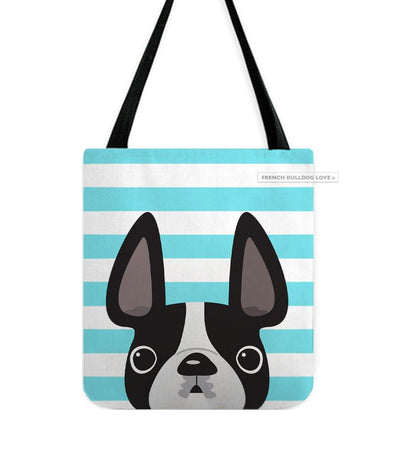 Black&White Pied / Striped French Bulldog Tote Bag