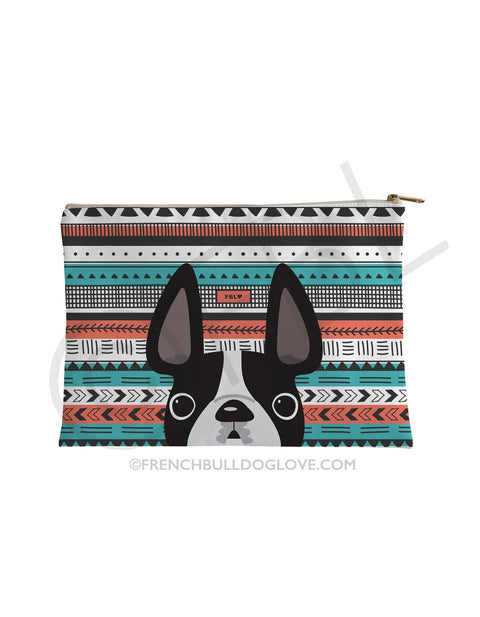 Black & White / Geometric French Bulldog Pouch - French Bulldog Love - 1