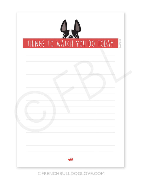 Black & White / Creeping French Bulldog Notepad