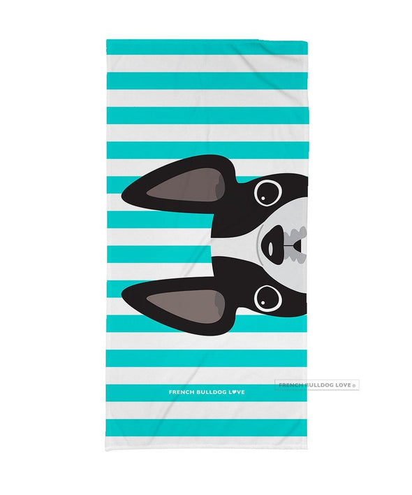 Black & White Pied / Striped French Bulldog Beach Towel