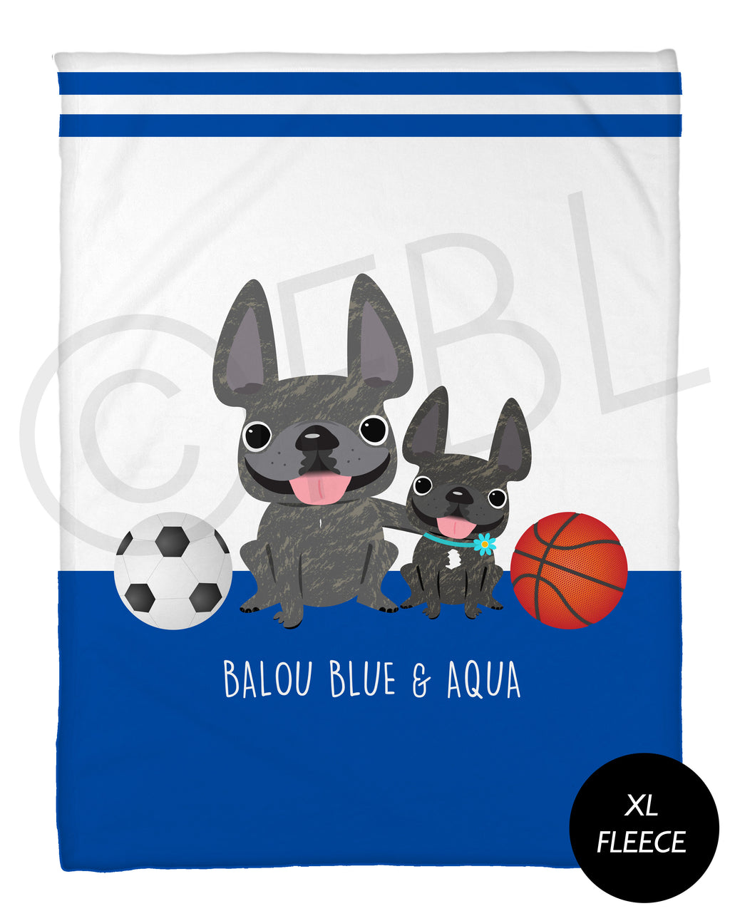 FBL Exclusive - @Baloublue - Balou & Aqua Fleece Blanket - XL