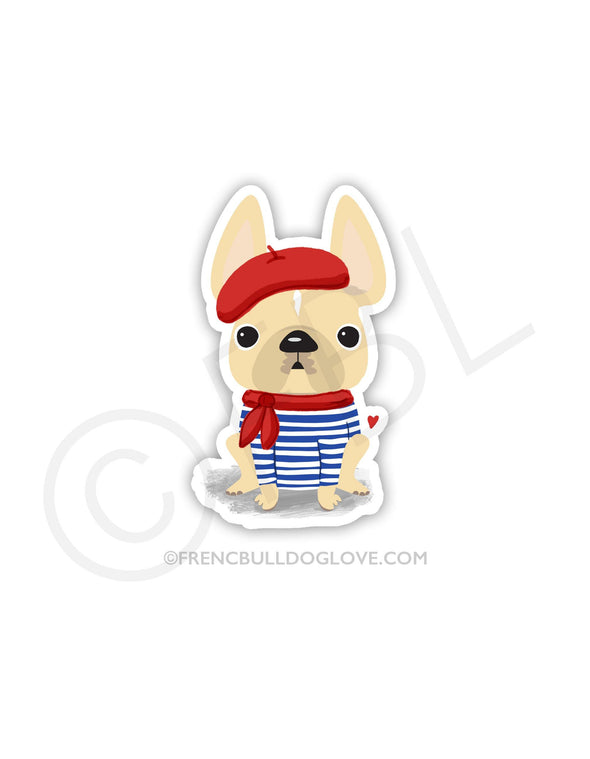 #100DAYPROJECT - BASTILLE DAY VINYL FRENCH BULLDOG STICKER