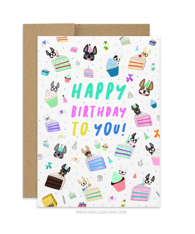 Birthday Celebration II - Frenchie Birthday Card
