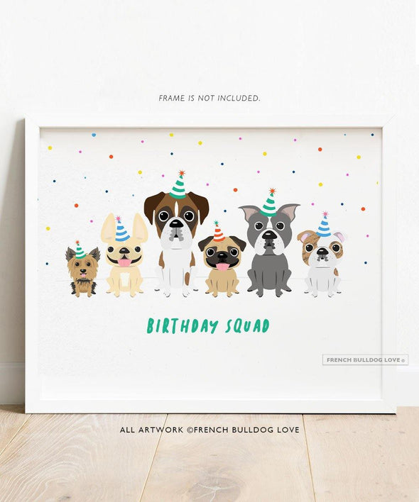 A Dog Park Birthday - French Bulldog Birthday Dog Print 8x10