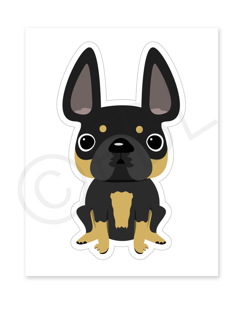 Black & Tan Frenchie / Large French Bulldog Sticker