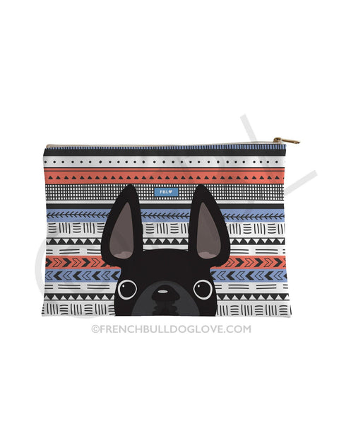 Black / Geometric French Bulldog Pouch - French Bulldog Love - 1
