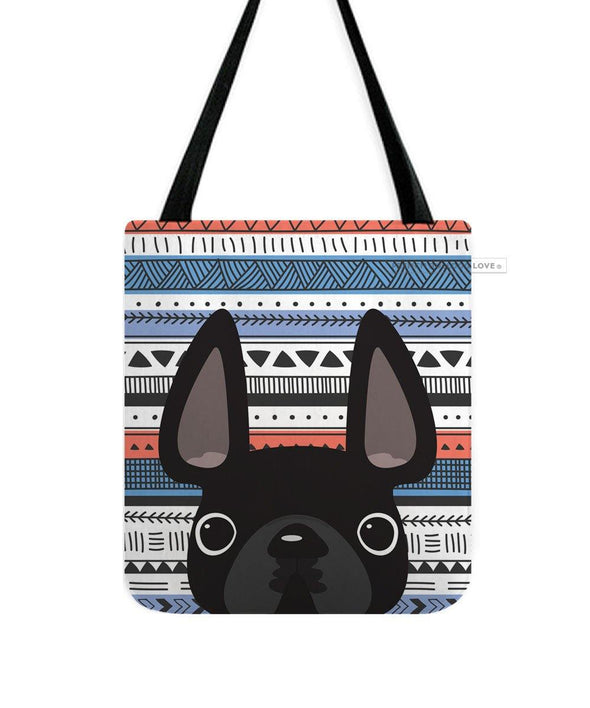 Black / Geometric French Bulldog Tote Bag
