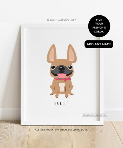 Frenchie Portrait - Bow - Custom French Bulldog Print 8x10