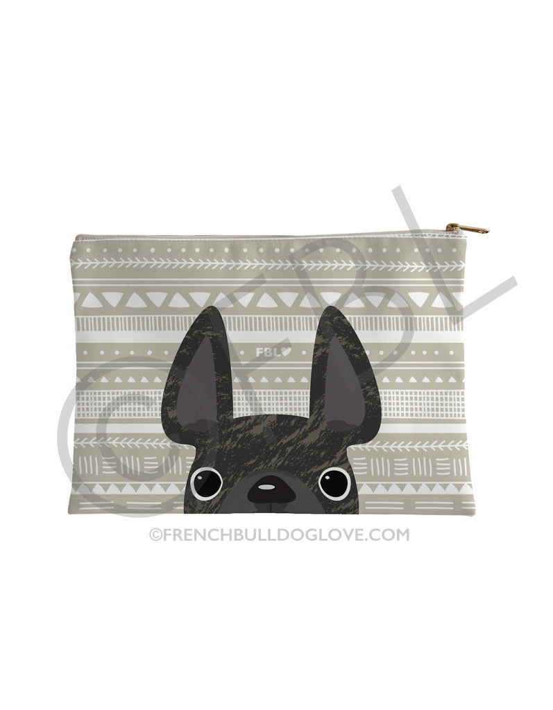 Brindle / Geometric French Bulldog Pouch