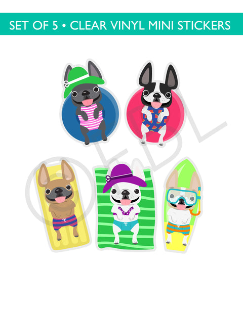 Cabana Frenchies CLEAR VINYL Mini Stickers Set of 5 - BEACH SET