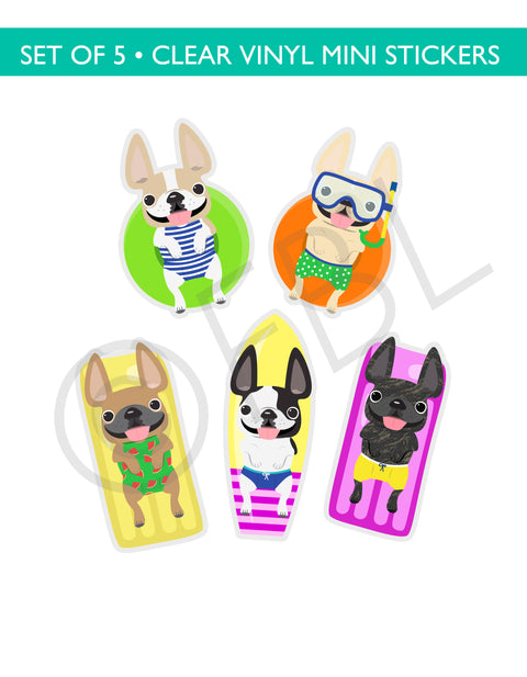 Cabana Frenchies CLEAR VINYL Mini Stickers Set of 5 - WAVES SET