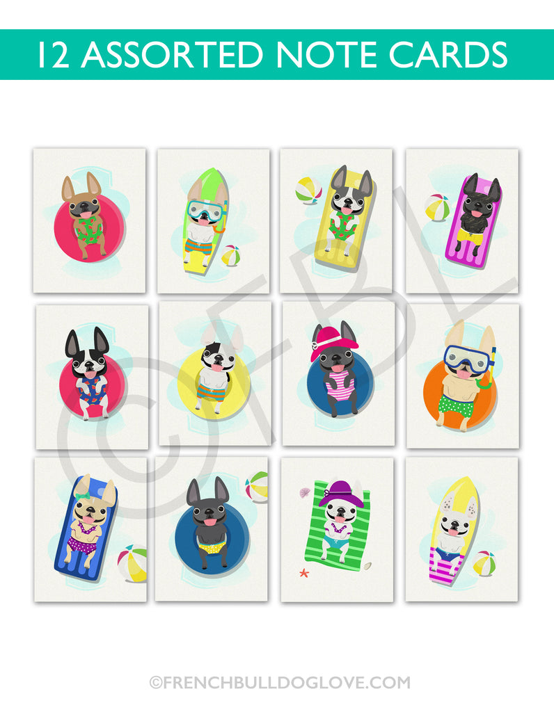 Cabana Frenchie Note Cards - Assorted Box of 12 - Size A2