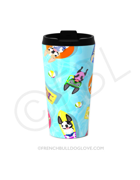 Frenchie Pool Party Metal Travel Mug 15oz