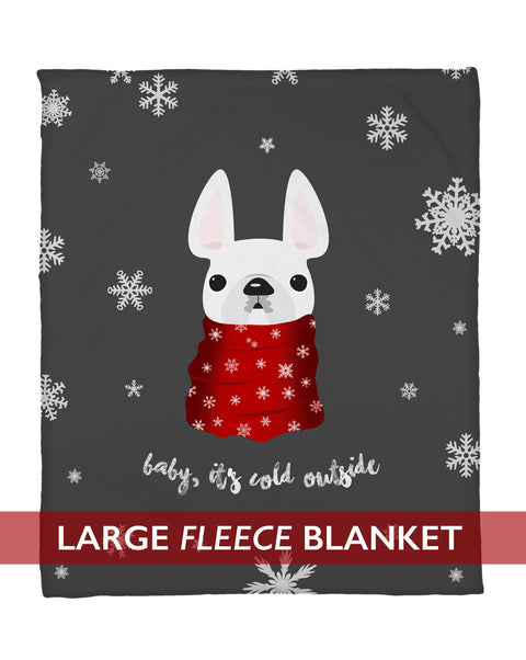 Holiday Fleece Baby It's Cold Outside White French Bulldog Fleece Blanket - Large - French Bulldog Love