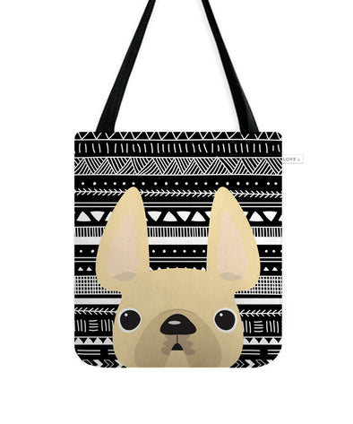 Cream Mono / Geometric French Bulldog Tote Bag