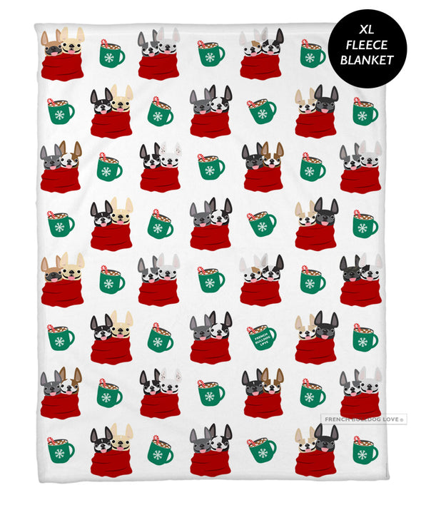 Cuddle Buddies French Bulldog Holiday Fleece Blanket - XL
