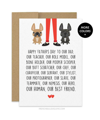 Dad Servant - TWO Frenchies - Father's Day Card - French Bulldog Love