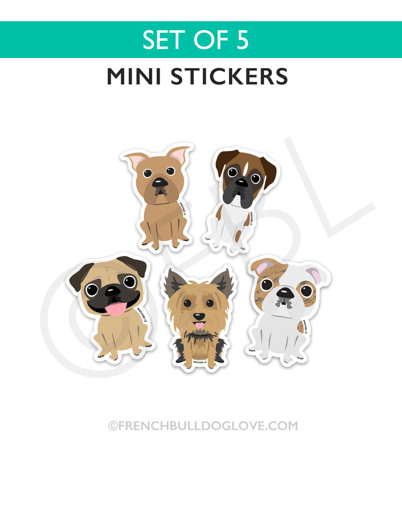 Dog Breed Mini Sticker Set of 5 - The Dog Park by French Bulldog Love